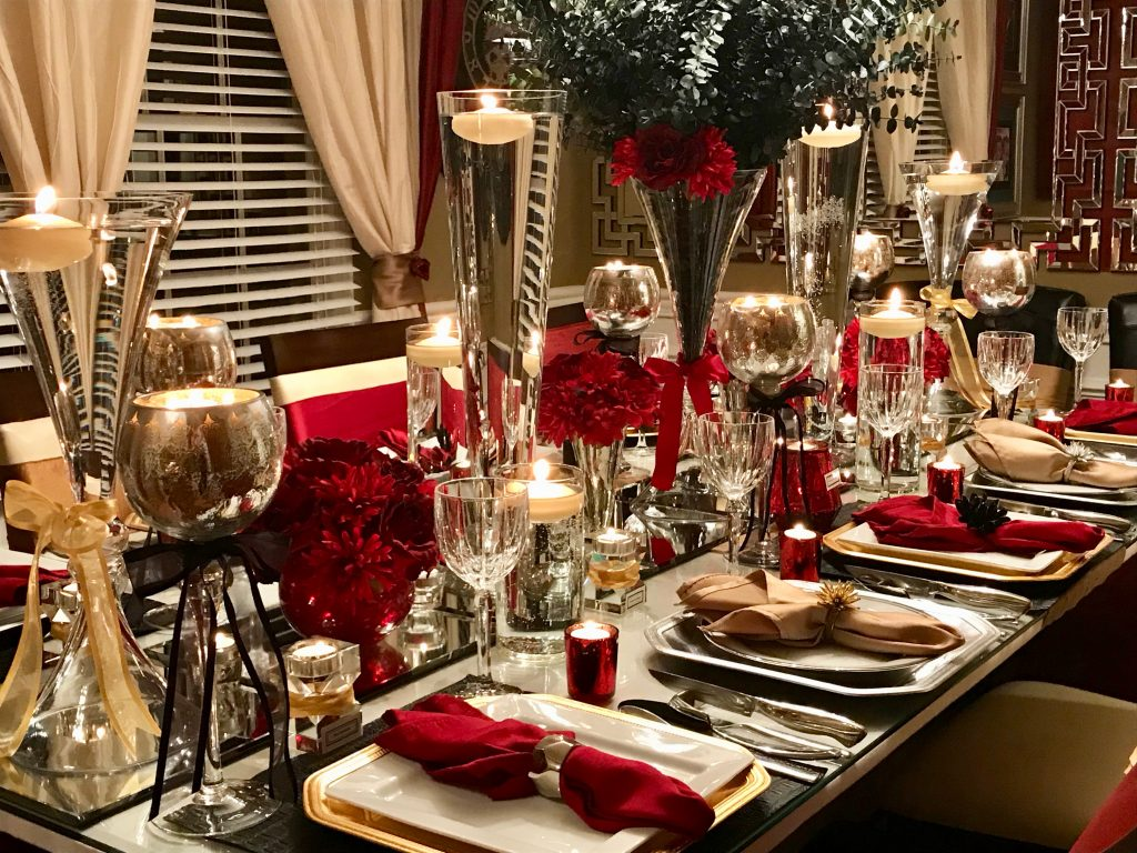 Practical Stylish Living red, silver, gold table setting and tablescape