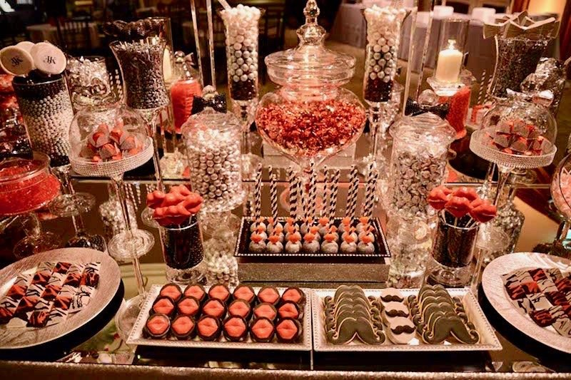 Pink, brown, and silver dessert candy table