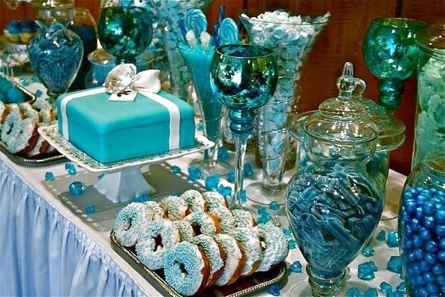 Blue, white, and silver dessert candy table