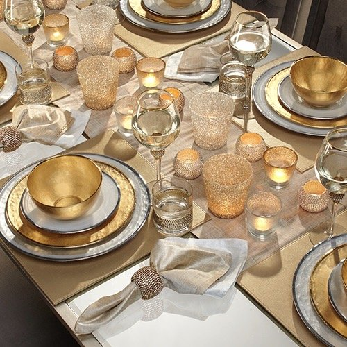 Gold and silver table setting