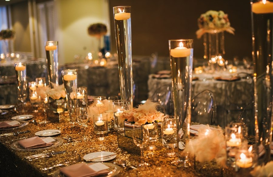 Gold, ivory and candle light table setting