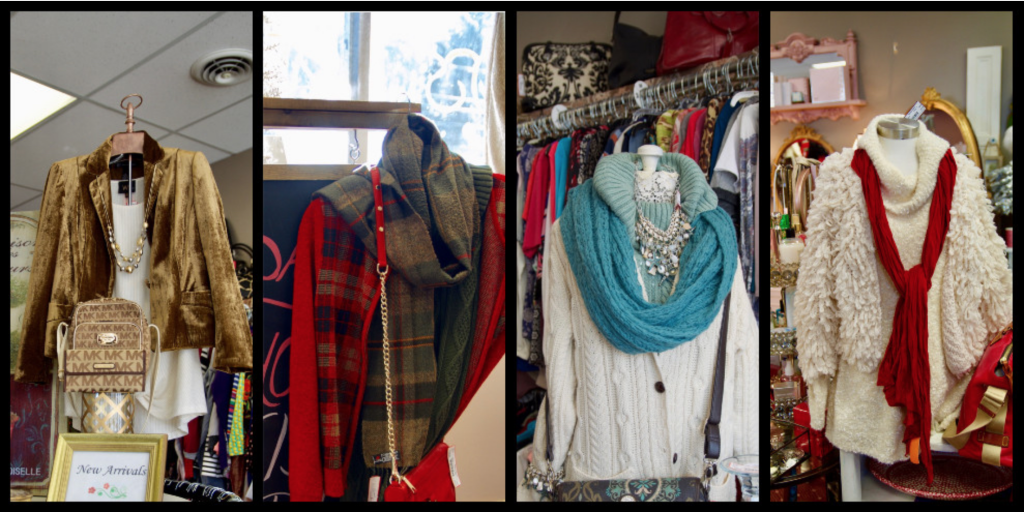 Clothing and accessories found at Saving Grace Boutique and Consignment store.