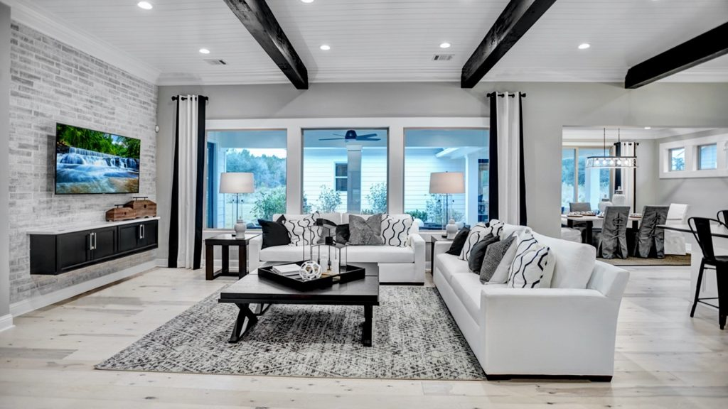 White, grey and black living room.