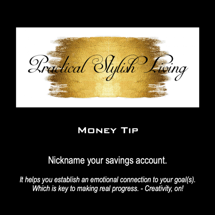 Practical Stylish Living name your savings account