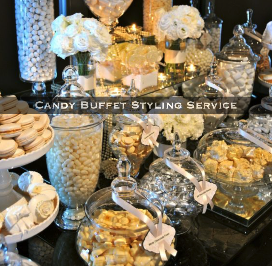 Candy Buffet Table styling service. Practical Stylish Living. Luxe Event Services