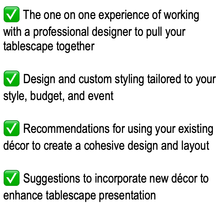 Tablescape Styling Services includes