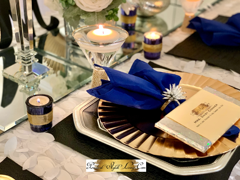 Formal place setting for wedding party table
