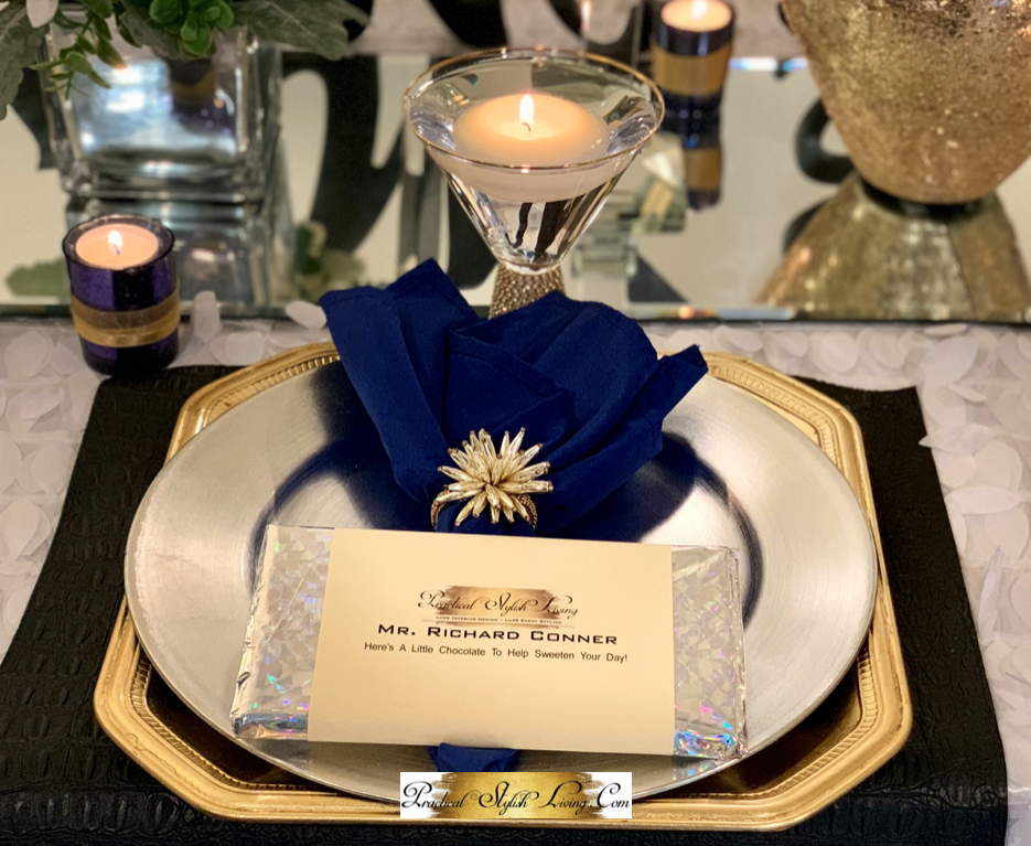 Blue and gold wedding reception table setting
