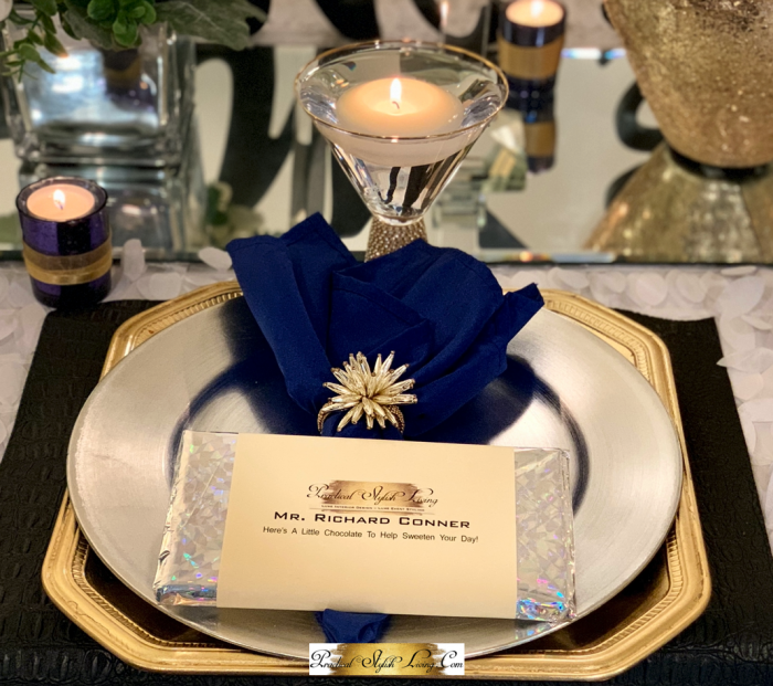 Gold Blue and Silver wedding party table setting